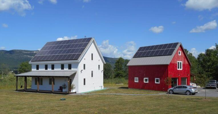Solar panels on two buildings